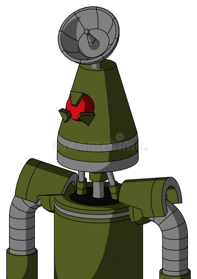 Army-Green Automaton With Cone Head And Angry Cyclops Eye And Radar Dish Hat stock image