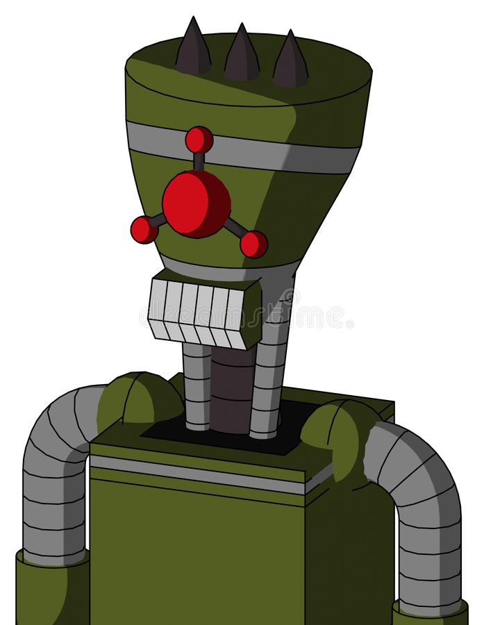 Army-Green Automaton With Vase Head And Teeth Mouth And Cyclops Compound Eyes And Three Dark Spikes. Portrait style Army-Green Automaton With Vase Head And Teeth stock illustration