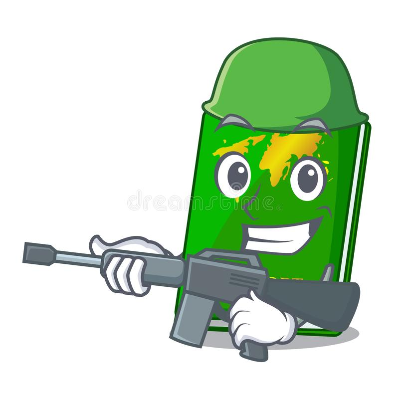 Army green passport in a character bag. Vector illustration stock illustration