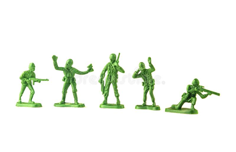 army green plastic soldiers isolated on white background royalty free stock image