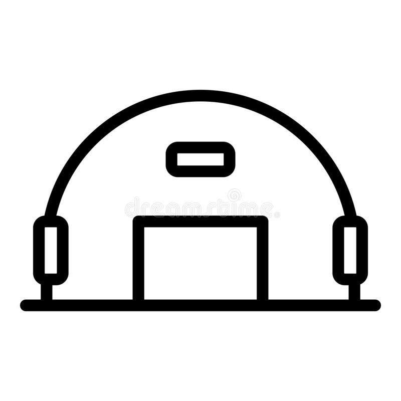 Army hangar icon, outline style. Army hangar icon. Outline army hangar vector icon for web design isolated on white background royalty free illustration