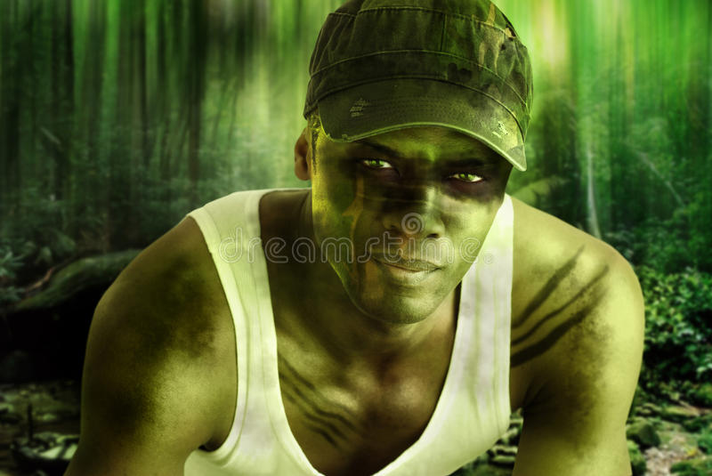 Army hero. Stylized fantasy portrait of a cool army hero guy with face paint and camo hat in dark mysterious jungle war setting stock images