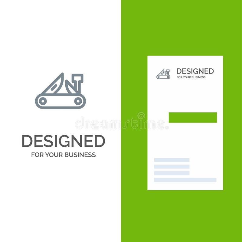 Army, Knife, Multi tool, Pocket Knife, Swiss Grey Logo Design and Business Card Template royalty free illustration