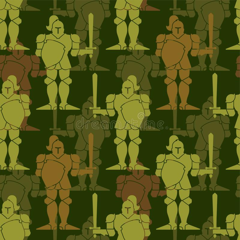 Army Knight pattern seamless. Metal armor warrior military ornament. Iron armor war background. Vector illustration royalty free illustration