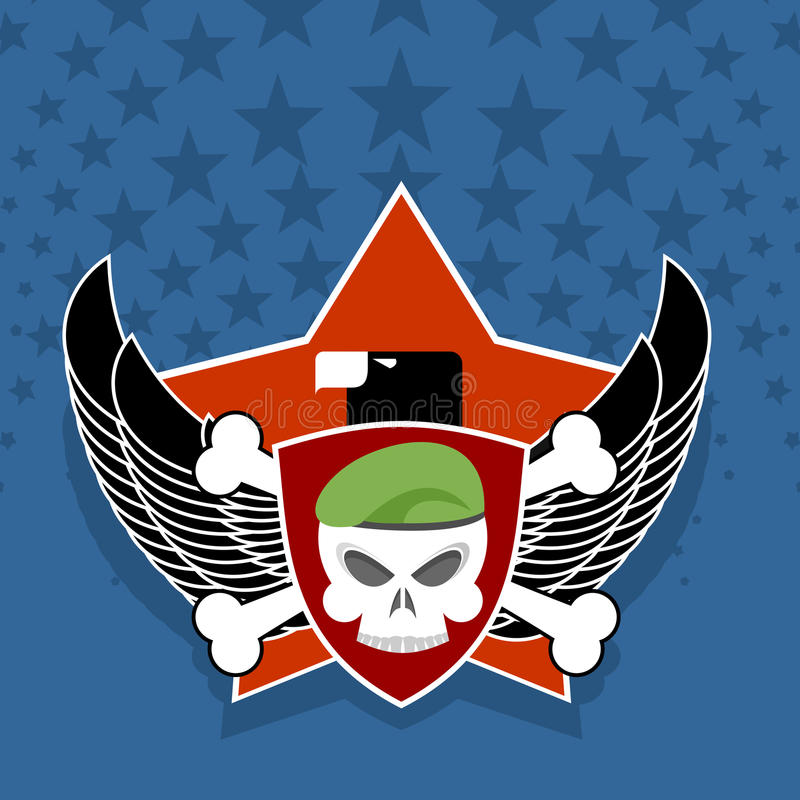 Army logo. skull is in charge on shield. Against the backdrop o vector illustration