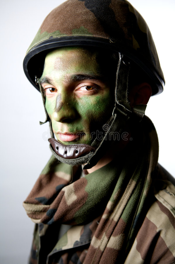 Army make up portrait. Soldier camouflage uniform make up portrait royalty free stock image