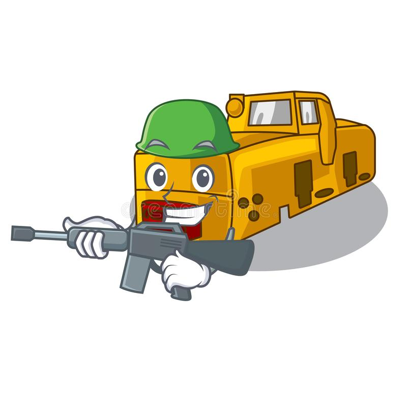 Army miniature locomotive mine in cartoon shape. Vector illustration royalty free illustration