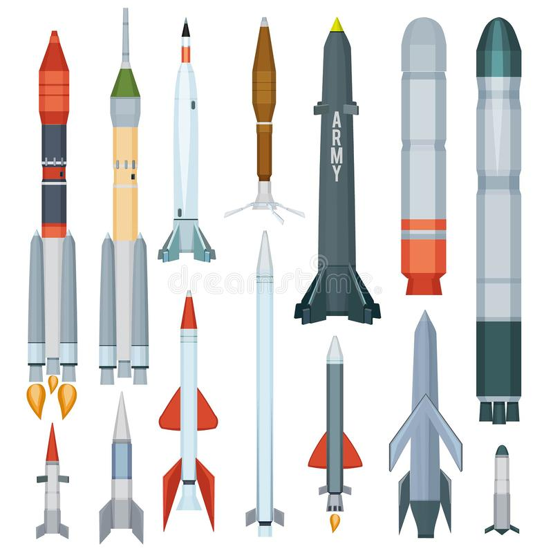 Army missile. Flight armour propeller rocket engine weapon military technology war vector collection. Rocket nuclear for army, launch artillery illustration royalty free illustration