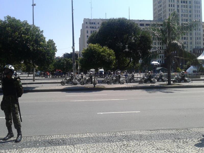 Army motocycles independence day parade. 09-07-2019 Brazilian independence day parade. Army Motocycles in Presidente Vargas avenue Rio de Janeiro Downtown stock photography