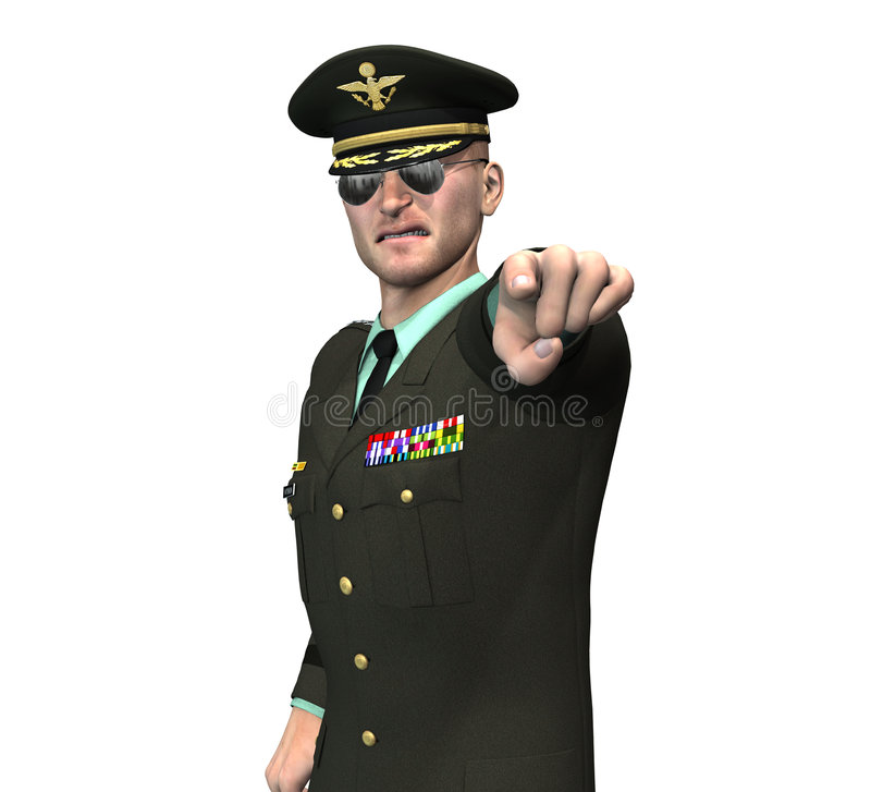 Army officer / general pointing royalty free illustration