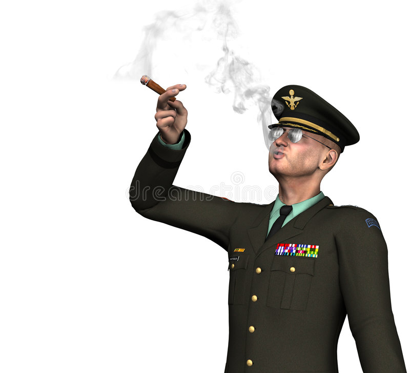 Download Army Officer / General Smoking Cigar Royalty Free Stock Photography - Image: 8509607