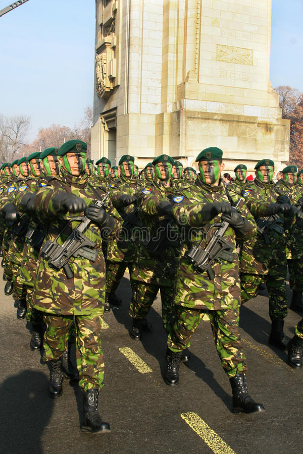 Army parade. Romanian army parade on 1 December- the national day royalty free stock image