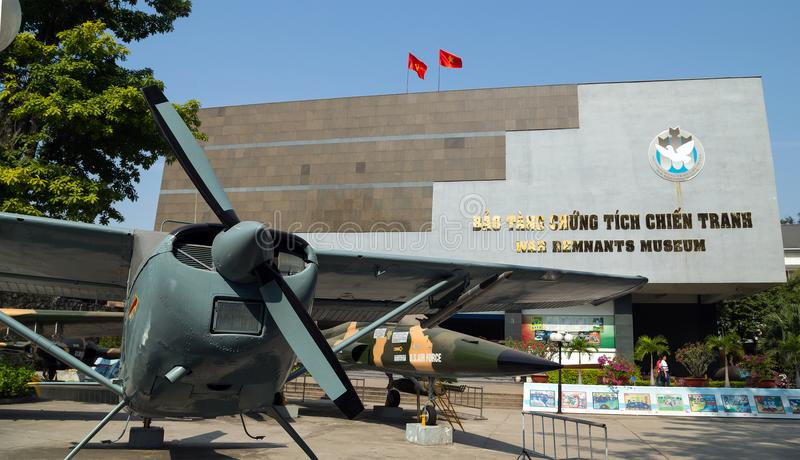 Army plane US AIR FORCE near Saigon Remnants Museum captured during the war stock photo