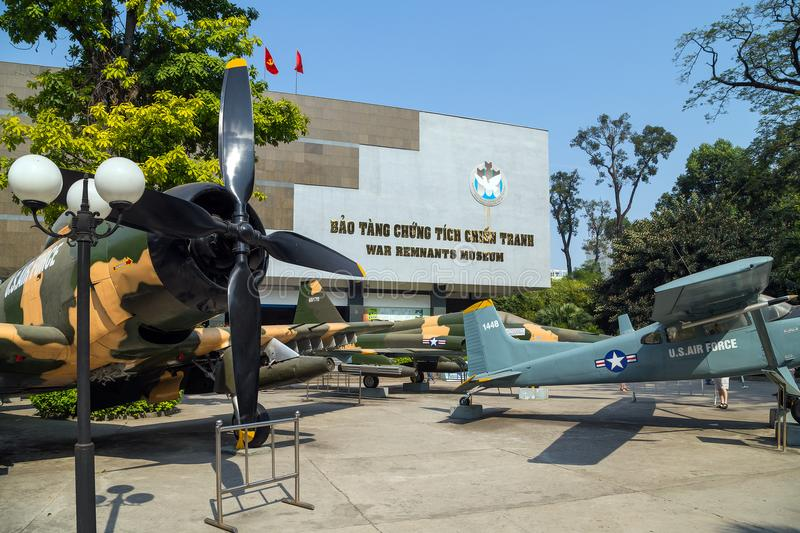 Army plane US AIR FORCE near Saigon Remnants Museum captured during the war stock photography