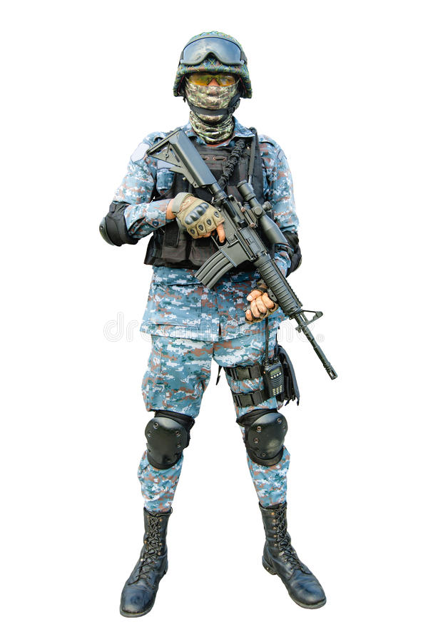 Army ranger. Isolated on white background royalty free stock images