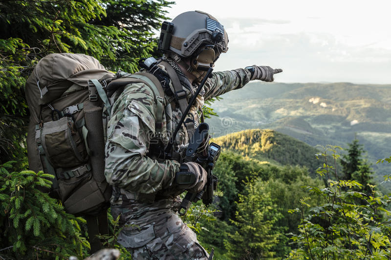 Army ranger in the mountains. United states army ranger in the mountains stock photo