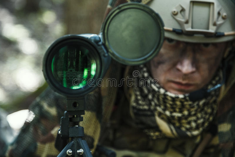 Army ranger spotter. United states army ranger spotter in the forest stock photos