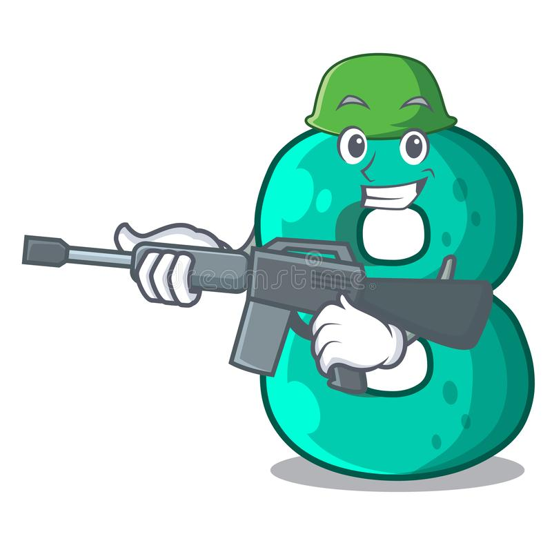 Army raster version cartoon shaped Number Eight. Vector illustration vector illustration