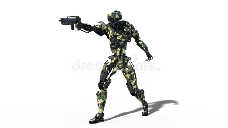 Army robot, armed forces cyborg, military android soldier aiming and shooting gun on white background, 3D render stock illustration