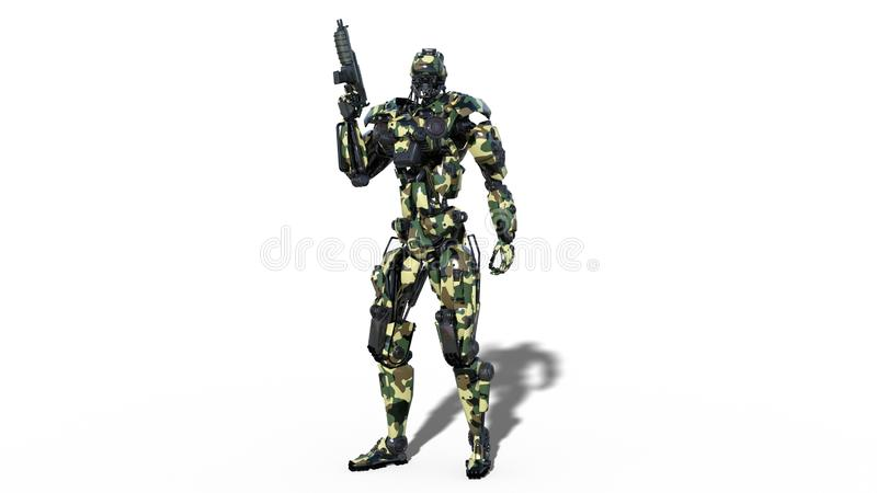 Army robot, armed forces cyborg, military android soldier holding gun isolated on white background, 3D render royalty free illustration