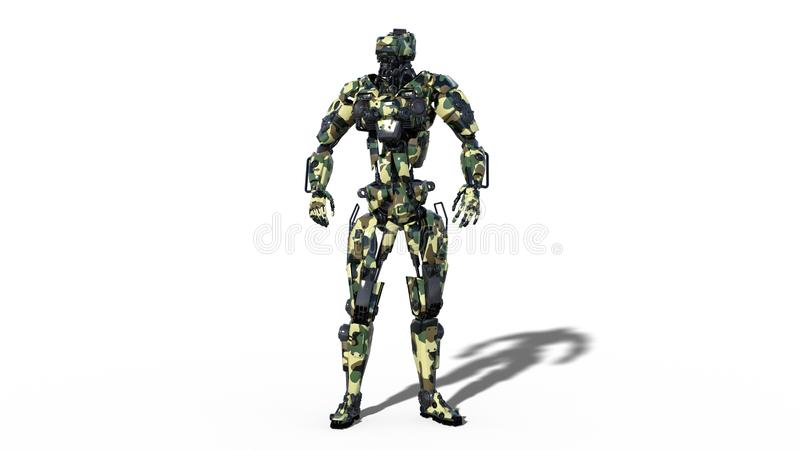 Army robot, armed forces cyborg, military android soldier isolated on white background, 3D render vector illustration