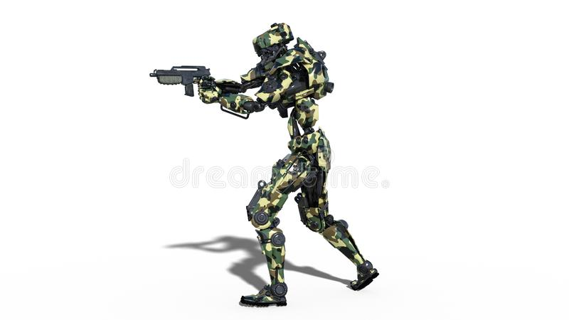 Army robot, armed forces cyborg, military android soldier shooting gun isolated on white background, 3D render vector illustration
