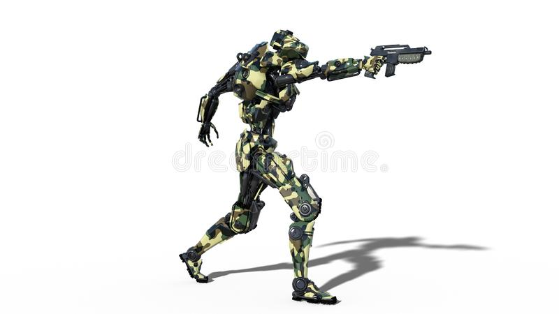 Army robot, armed forces cyborg, military android soldier shooting gun on white background, 3D render royalty free illustration
