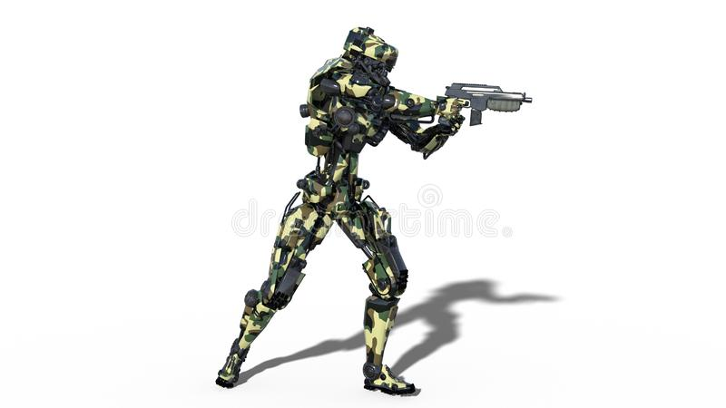 Army robot, armed forces cyborg, military android soldier shooting gun on white background, side view, 3D render royalty free illustration