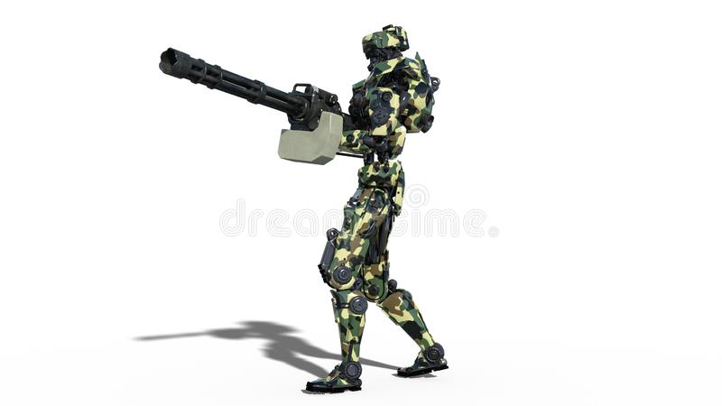 Army robot, armed forces cyborg, military android soldier shooting machine gun isolated on white background, 3D render vector illustration