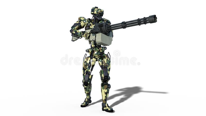 Army robot, armed forces cyborg, military android soldier shooting machine gun on white background, 3D render stock illustration
