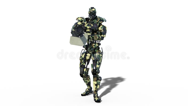 Army robot, armed forces cyborg, military android soldier shooting machine gun on white background, front view, 3D render stock illustration