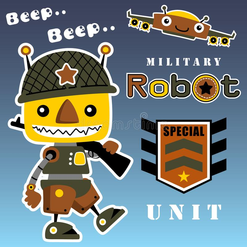 Army robot. An army robot carrying a gun on his shoulder with military logo, vector cartoon. EPS 10 stock illustration