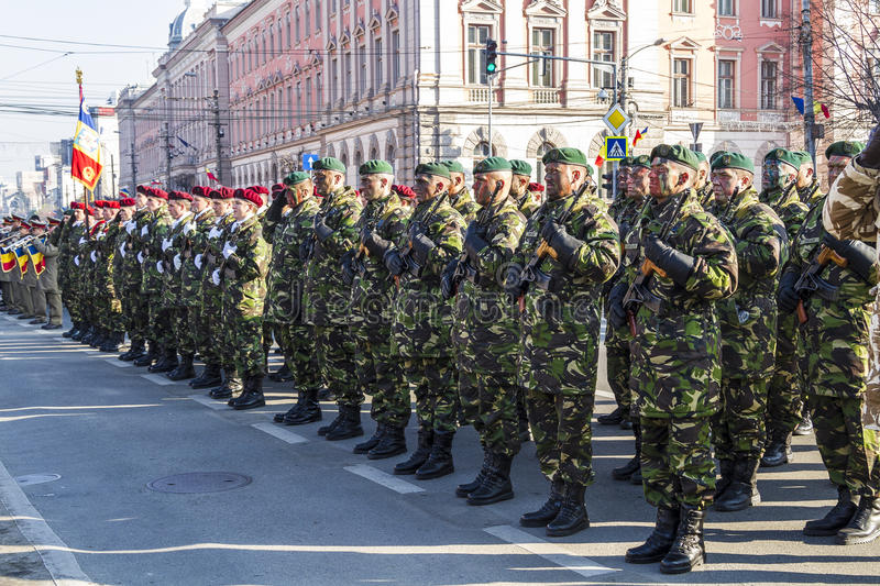 Army. Romanian army in a demonatration for the december 1st 2013 in Cluj-Napoca, Romania stock photos