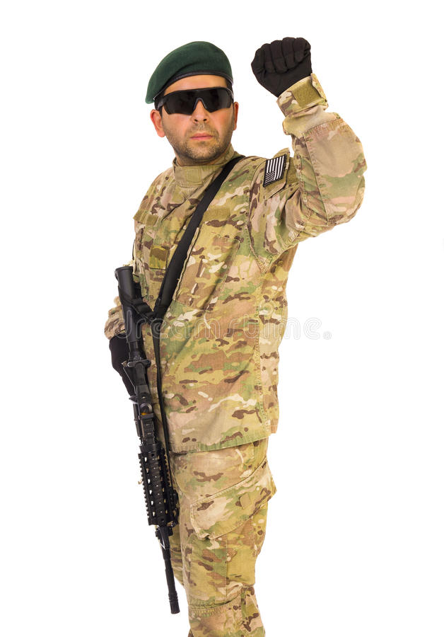 Army serviceman hand signaling royalty free stock image