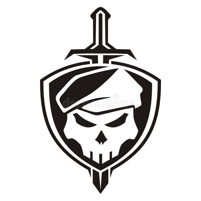 Army skull shield stock image