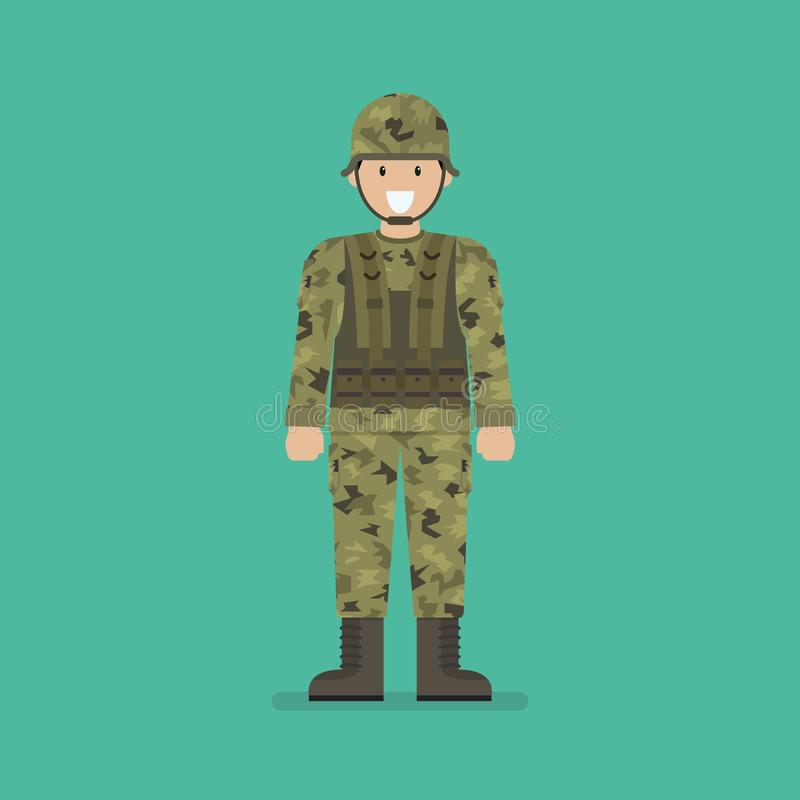 Army soldier character. Vector illustration vector illustration
