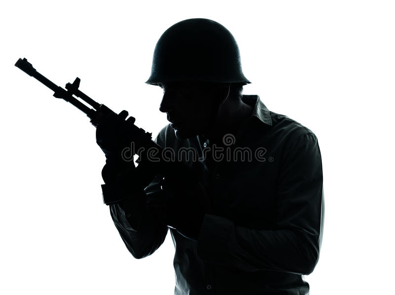 Army soldier man portrait. One caucasian army soldier man portrait on guard on studio isolated on white background royalty free stock photo