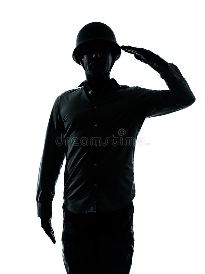 Army soldier man saluting. One caucasian army soldier man army soldier man saluting on studio isolated on white background royalty free stock images
