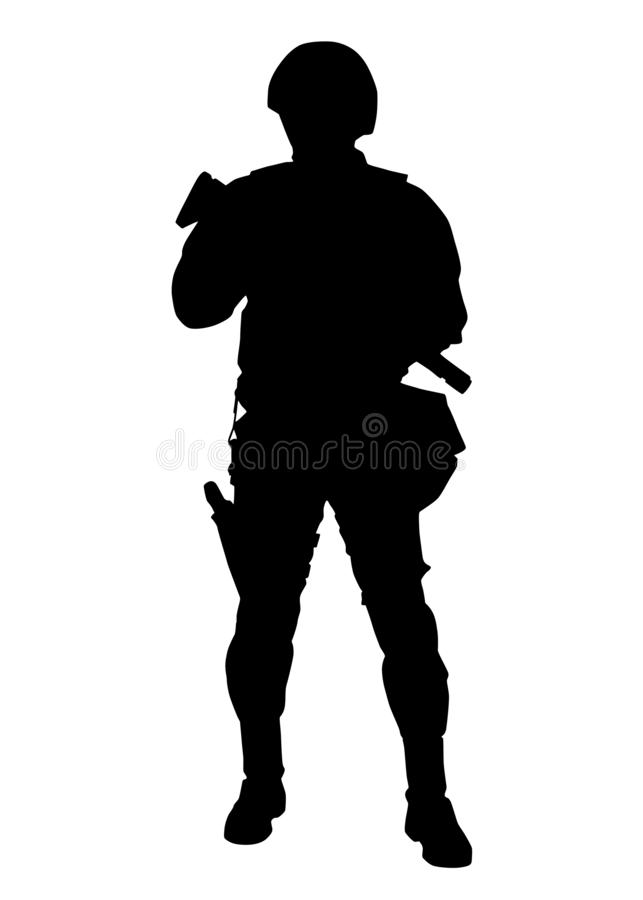 Armed SWAT fighter isolated vector black silhouette vector illustration