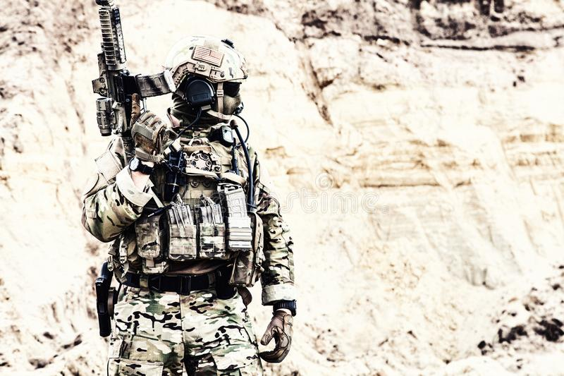 Elite fighter of special forces ready for battle royalty free stock images
