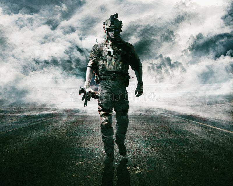 Army soldier on the road stock photos