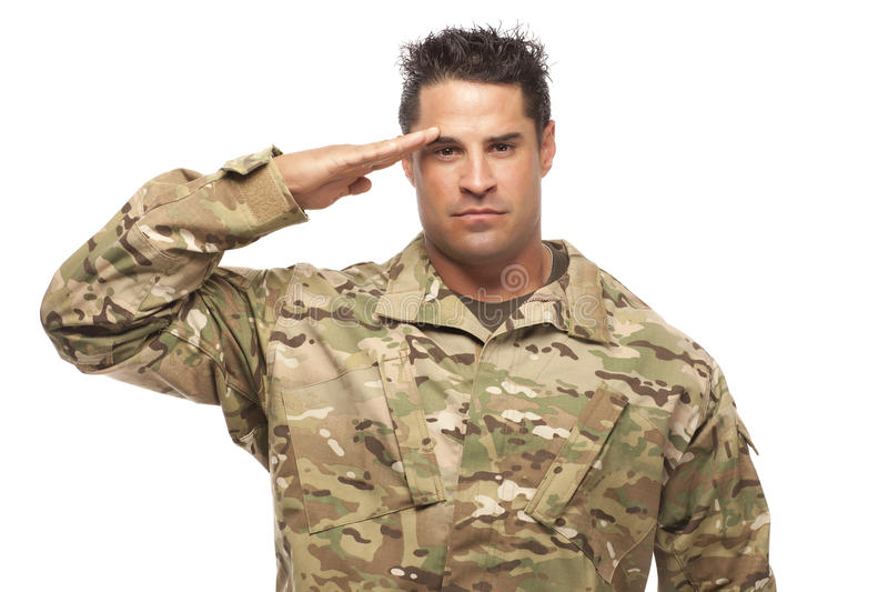 Army soldier saluting. Portrait of army soldier saluting against white background stock photography