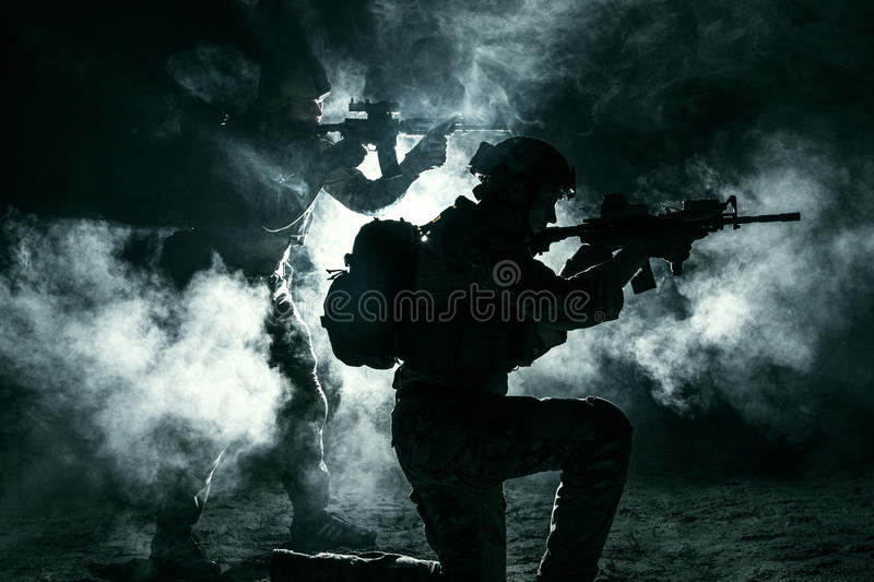 Army soldiers attacking stock photo