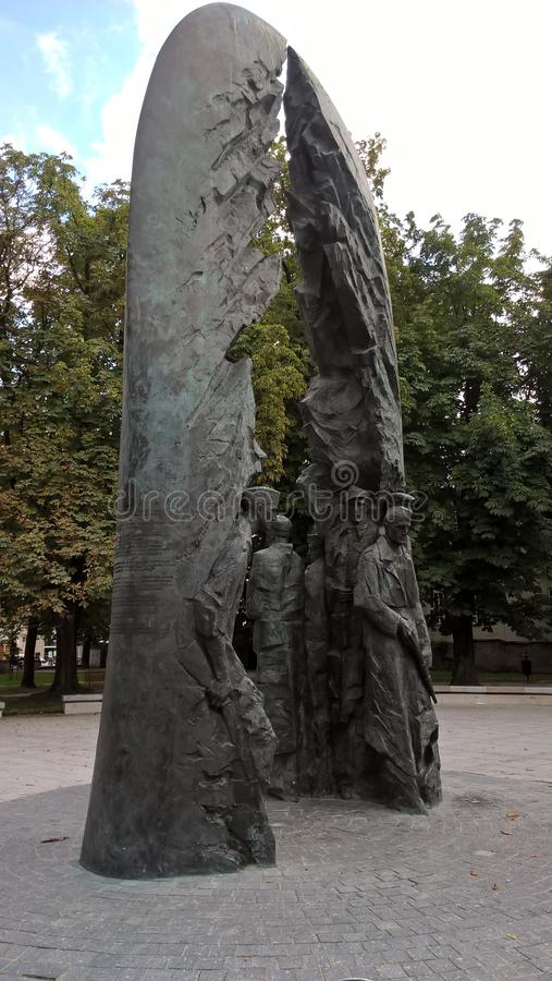 Army soldiers. Statue, monument. Poland. Kielce. A monument memorializing Polish soldiers killed fighting. Poland Fighting. Kielce, summer 2016 year stock photography