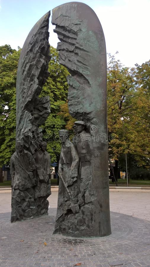 Army soldiers. Statue, monument. Poland. Kielce. A monument memorializing Polish soldiers killed fighting. Poland Fighting. Kielce, summer 2016 year stock image