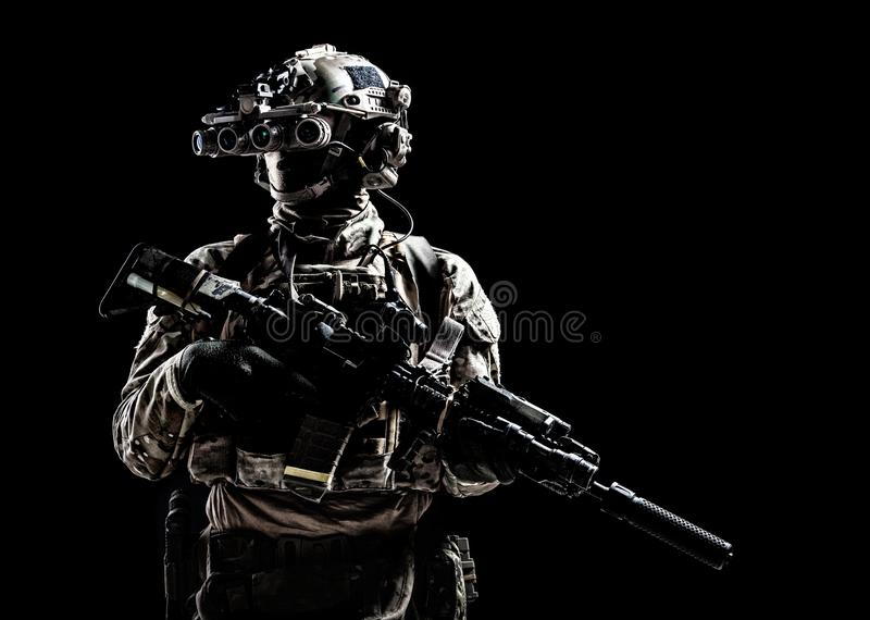Army special forces shooter low key studio shoot royalty free stock image