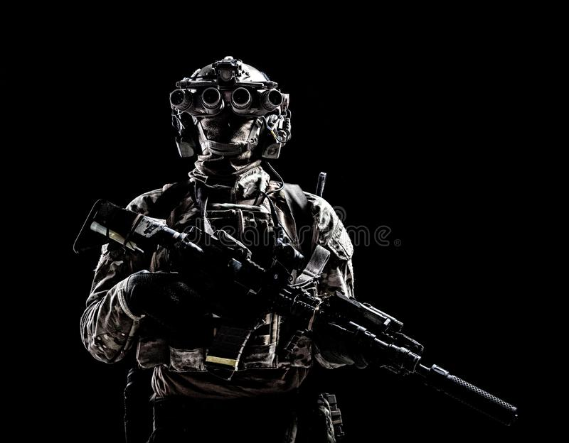Army special forces shooter low key studio shoot royalty free stock photo