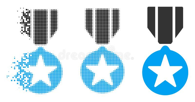 Damaged Dot Halftone Army Star Award Icon. Army star award icon in dispersed, dotted halftone and whole variants. Particles are combined into vector dissipated royalty free illustration