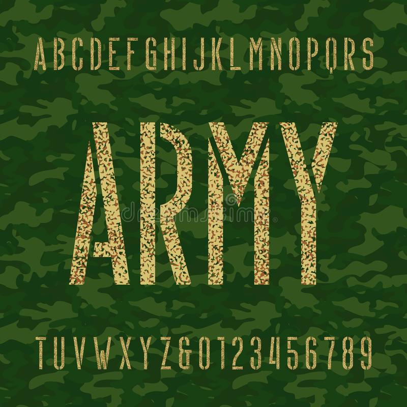 Army Stencil Alphabet Font. Type Letters And Numbers On A