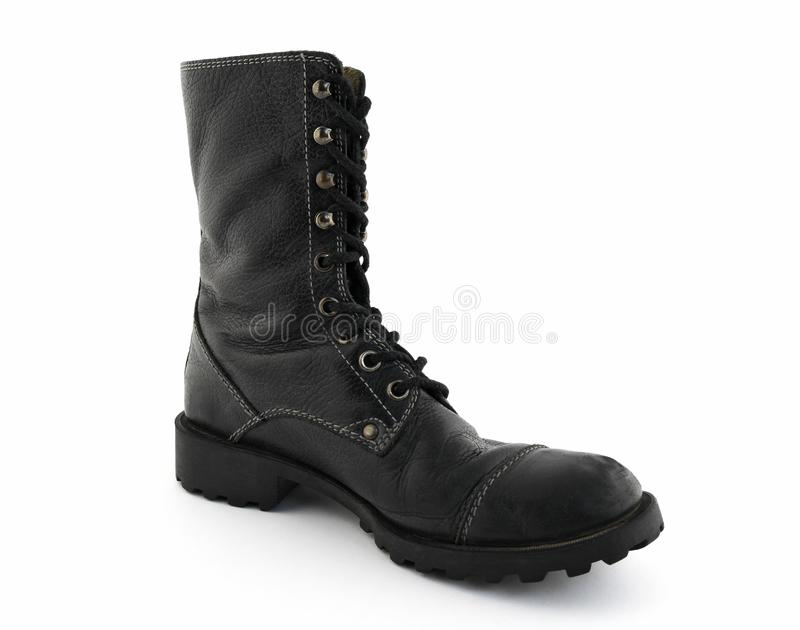 Army style black leather boot royalty free stock photos